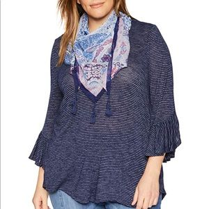 one world 3/4 sleeve top with scarf